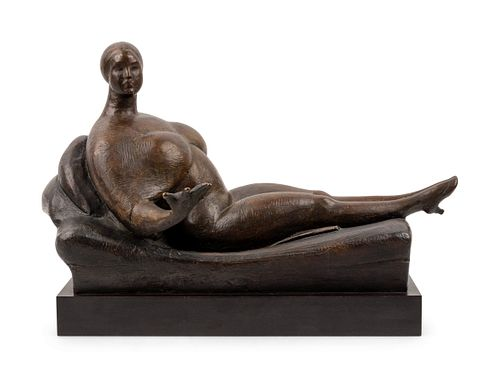 Gaston Lachaise(French, 1882-1935)Woman on Divan (Woman on Sofa, Woman on a Couch) [LF 69]model circa 1919, revised 1923? (by 1928), cast 1979