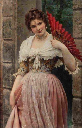 Eugene De Blaas (Austrian, 1843-1932)  Portrait of a Woman with Red Fan, 1897