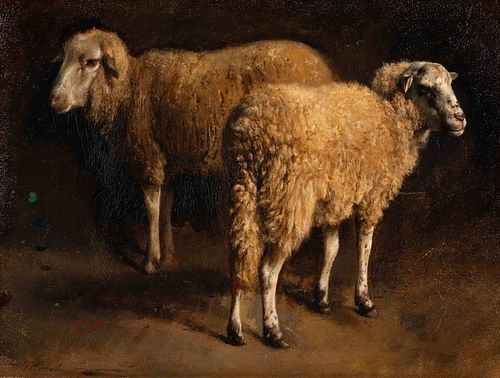 Auguste (Francois Auguste) Bonheur (French, 1824-1884) Study of Two Sheep