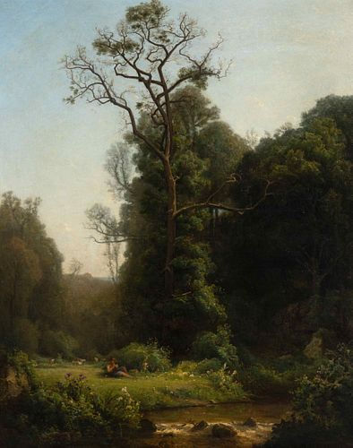 Louis-Aime Japy (Swiss, 1840-1916) Landscape with Shepherd and Stream
