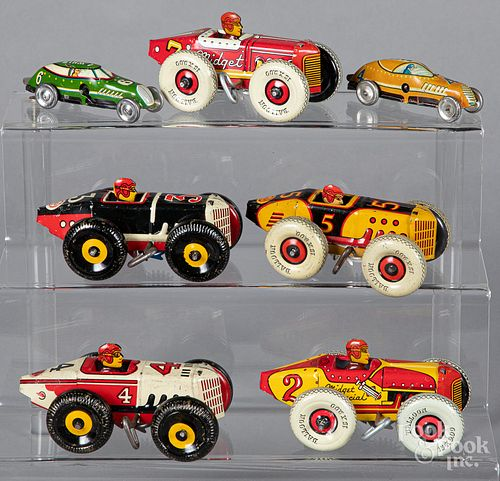 Five Marx tin lithograph wind-up midget racers