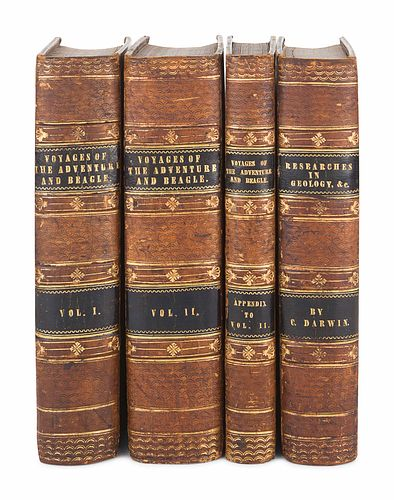 DARWIN, Charles (1809-1882). -- Robert FITZROY, editor (1805-1865), and Capt. Philip Parker KING (1793-1856). A Narrative of the Surveying Voyages of