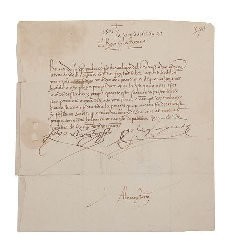 """FERDINAND II (1452-1516) and ISABELLA I of Spain (1451-1504). Letter signed at head (""""Yo El Rey"""" & """"Yo La Reyna"""") to the Bishop of Malaga and his coun"""