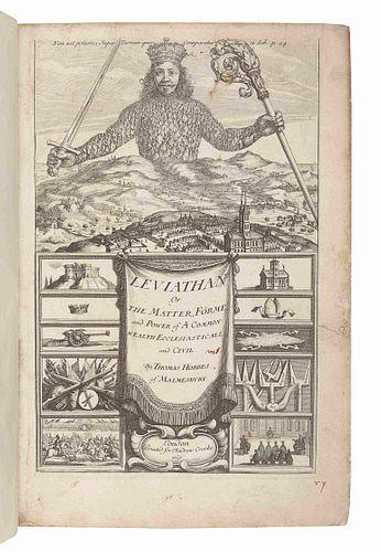HOBBES, Thomas (1588-1679). Leviathan, or The Matter, Forme, & Power of a Common-Wealth Ecclesiasticall and Civill. London: printed for Andrew Crooke,