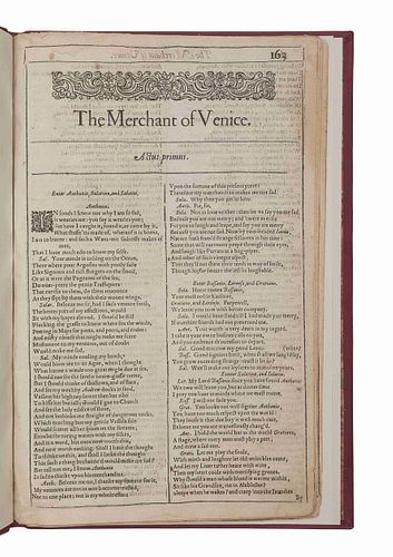 SHAKESPEARE, William (1564-1616). The Merchant of Venice [Extracted from the First Folio]. [London: Isaac Jaggard..., 1623].
