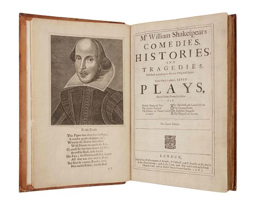 SHAKESPEARE, William (1564-1616). Mr. William Shakespear's Comedies, Histories, and Tragedies. Published according to the true Original Copies. Unto w