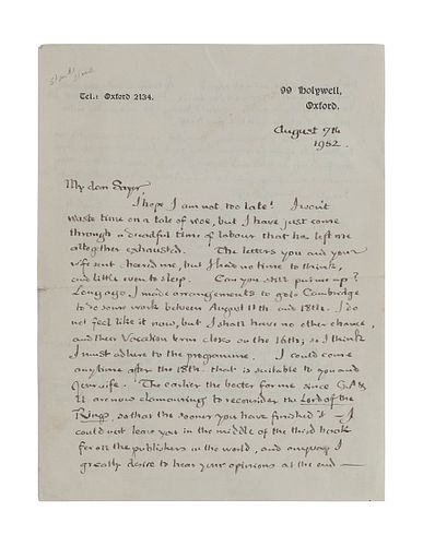 """TOLKIEN, John Ronald Reuel (1892-1973). Autograph letter signed (""""JRRT""""). To George Sayer, Oxford, 7 August 1952. 2 pages, 8vo, on 99 Holywell, Oxford"""