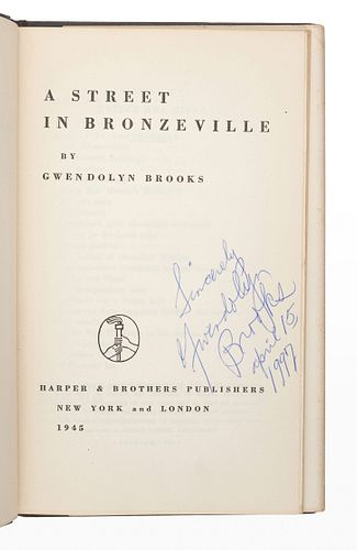 BROOKS, Gwendolyn (1917-2000). A Street in Bronzeville.New York and London: Harper & Brothers, 1945.