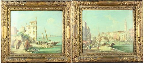 Pair of Venetian Scenes, E. Zeno (18 80-1956) O/C
