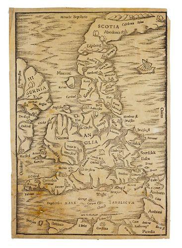 16th Century Map of the British Isles