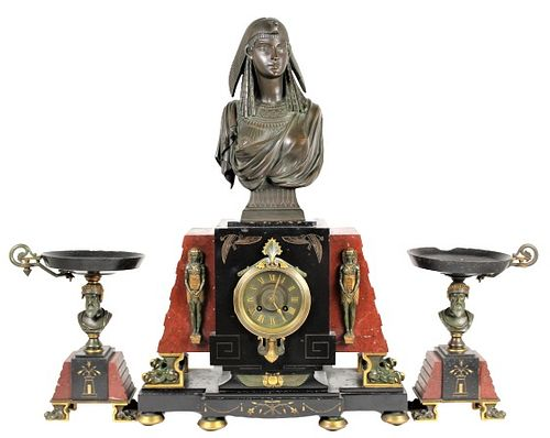 Late 19th C. Egyptian Revival Marble Clock Set