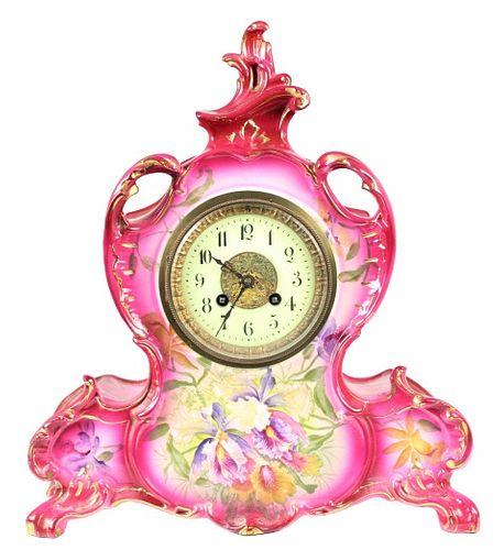 """Antique Porcelain Royal Bonn Clock """"La Vendee"""""""