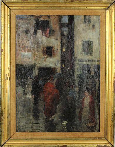 19th C European Market Place, Oil on Canvas