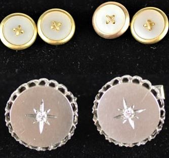(2) Pairs of 18k Y Gold & 14k W Gold Cufflinks
