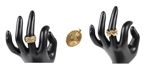 (2) 14k Gold Rings and (1) 14k Gold Pendant