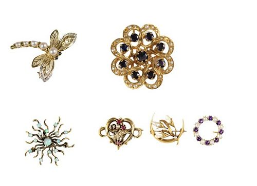 Group of 6 Brooches