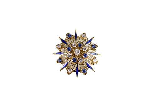 14k Gold Brooch, 6 dwt w/ Diamonds