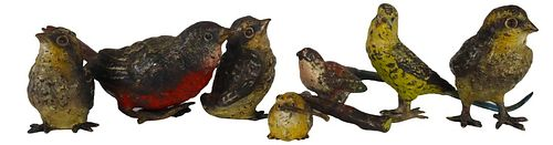 Collection of (7) Diminutive Viennese Bronze Birds