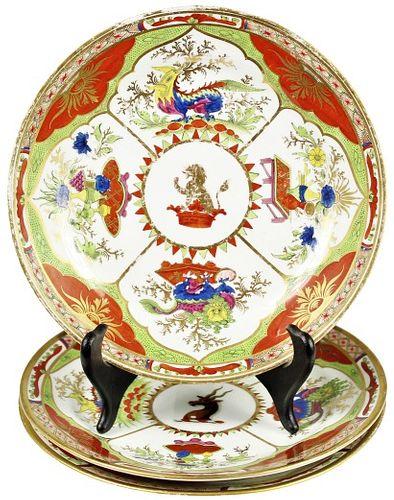 (3) English Chamberlain's Worcester Plates