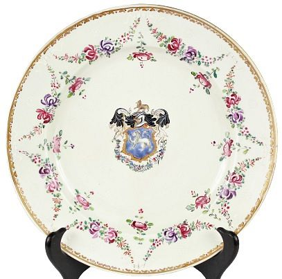French Sampson Floral Swag Armorial Dinner Plate