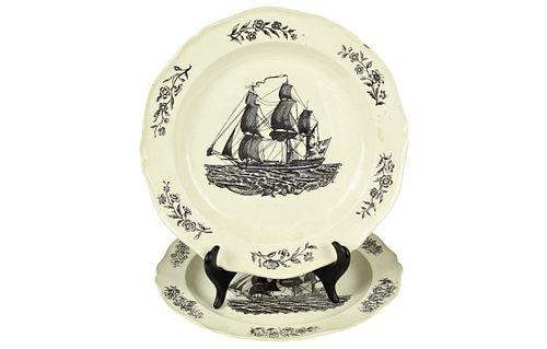 Pair of English Creamware Nautical Dinner Plates