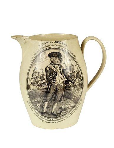 "English Creamware Ship's Pitcher ""Baron Nelson"""