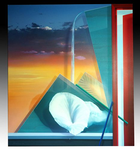 Masoud Yasami Painting Composition Open Door 1990