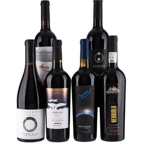 Vinos Tintos de México. a) Apogeo. b) Ancón San Vicente. c) Bibayoff. d) Cerralvo. e) Equinoccio. f) Relieve. Total de piezas: 6