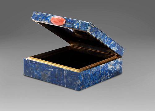 Lapis lazuli, silver and coral box