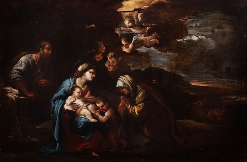 Scuola napoletana, secolo XVII - Holy Family with San Giovannino and Sant'Anna in a landscape