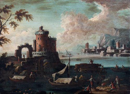 Scuola dell'Italia settentrionale, secolo XVII - Coastal landscape with tower and bystanders