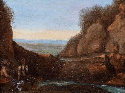 Pittore olandese attivo a Roma, inizi secolo XVII - Landscape with bathers