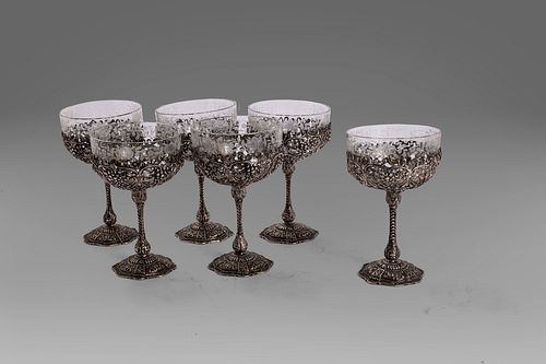 Set of six champagne glasses in crystal and 800 silver, Germany, late 19th - early 20th century