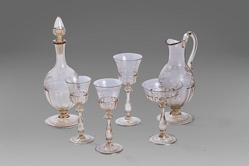 Set for ten in ground glass, consisting of 40 glasses and two carafes