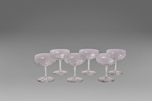 Set of six champagne flutes in ground glass and floral motifs, 20th century
