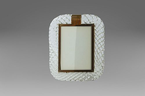 Torchon-worked Murano glass photo frame, signed Seguso, 1930s