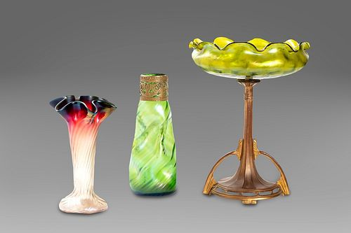 Lot consisting of three glass objects, Austria, early 20th century