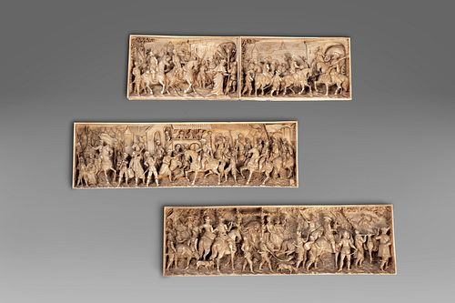 Scuola europea, secolo XIX - Lot of 4 ivory plaques depicting hunting scenes