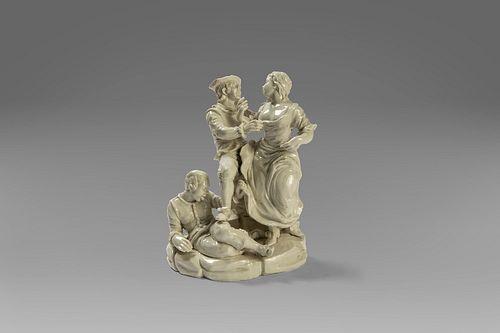 Sculptural group in Venetian porcelain, 18th century, depicting an erotic scene