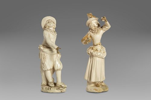 Two small majolica sculptures of Neapolitan manufacture, XVIII century: a young man and a girl drinking