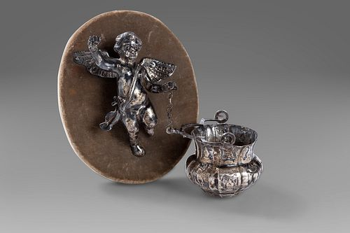 Holy water stoup in silver, Naples, late 18th century