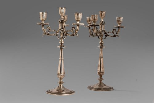 Pair of 800 silver candlesticks, 20th century