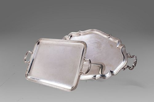 Lot of two silver trays