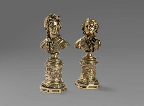 Two silver busts depicting portraits of a nobleman and noblewoman, late 18th century