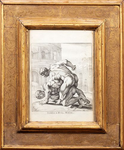 Pair of Emilian frames, 18th century, with two prints of the Villa Medici wrestlers