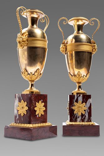 Pair of Empire vases in gilt bronze on marble bases, France, 19th century