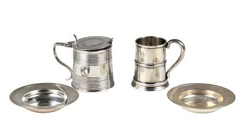 (4) Collection Sterling Tankards & Small Plates