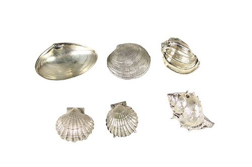 Collection (6) Silver & Silver Plated Shell Forms