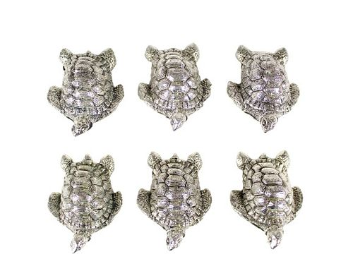 Set of (6) Mexican Sterling Place Card Holders
