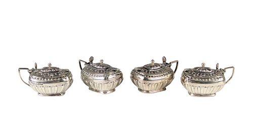 Set of (4) English Sterling Mustard Pots